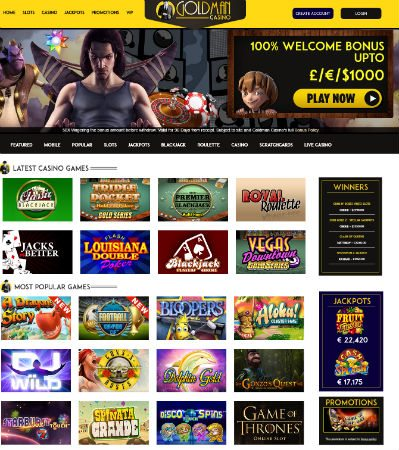 Goldman Casino | Online Mobile Slots £1,000 Mega Welcome Offer!